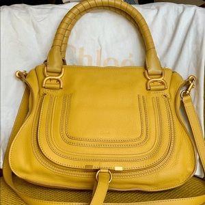 Chloe Marcie Yellow Satchel Crossbody Bag Medium
